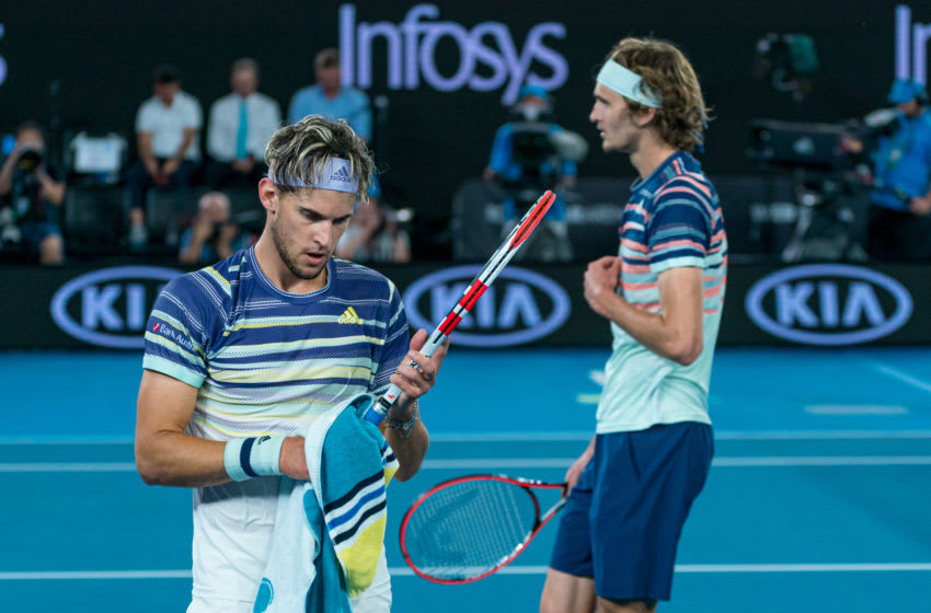 MELBOURNE, AUSTRALIA - JANUARY 31: Dominic Thiem of Austria and Alexander Zverev of Germany change ends during their Men's SinglesSemifinal match on day twelve of the 2020 Australian Open at Melbourne Park on January 31, 2020 in Melbourne, Australia. (Photo by Andy Cheung/Getty Images)
