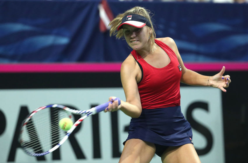 EVERETT, WASHINGTON - FEBRUARY 08: Sofia Kenin of the United States in action while competing against Jelena Ostapenko of Latvia during the 2020 Fed Cup qualifier between USA and Latvia at Angel of the Winds Arena on February 08, 2020 in Everett, Washington. (Photo by Abbie Parr/Getty Images)