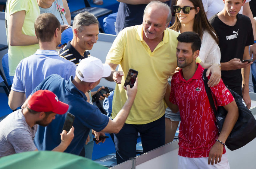 BELGRADE, SERBIA - JUNE 13: Novak Djokovic takes a selfie with the fans during the 2nd day of Summer Adria Tour, on June 13, 2020 in Belgrade, Serbia. (Photo by Nikola Krstic/MB Media/Getty Images)
