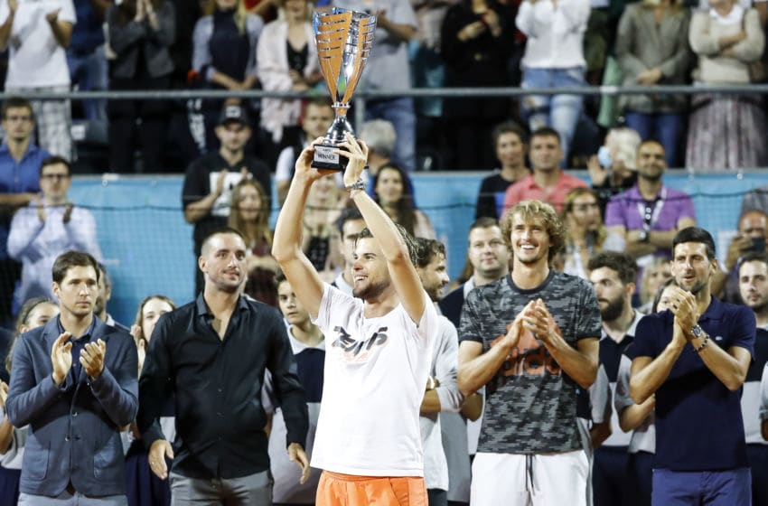 BELGRADE, SERBIA - JUNE 14: Dominic Thiem of Austria celebrates with the trophy after winning his final match against Filip Krajinovic of Serbia at the Adria Tour charity exhibition hosted by Novak Djokovic on June 14, 2020 in Belgrade, Serbia. (Photo by Srdjan Stevanovic/Getty Images)