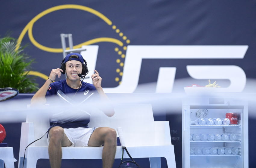 Australian Alex De Minaur wears a head seat with microphone during a group match between Australia's Alex De Minaur and UK's Dan Evans at the third edition of UTS Ultimate Tennis Showdown event with six ATP players, in Antwerp, Friday 16 October 2020. BELGA PHOTO LAURIE DIEFFEMBACQ (Photo by LAURIE DIEFFEMBACQ/BELGA MAG/AFP via Getty Images)
