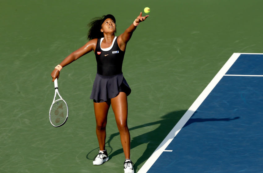 NEW YORK, NEW YORK - AUGUST 24: Naomi Osaka of Japan serves to Karolina Muchova of Czech Republic during the Western & Southern Open at the USTA Billie Jean King National Tennis Center on August 24, 2020 in the Queens borough of New York City. (Photo by Matthew Stockman/Getty Images)