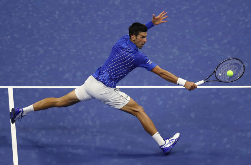 NEW YORK, NEW YORK - AUGUST 31: Novak Djokovic of Serbia returns a volley during his Men's Singles first round match against Damir Dzumhur of Bosnia and Herzegovina on Day One of the 2020 US Open at the USTA Billie Jean King National Tennis Center on August 31, 2020 in the Queens borough of New York City. (Photo by Matthew Stockman/Getty Images)