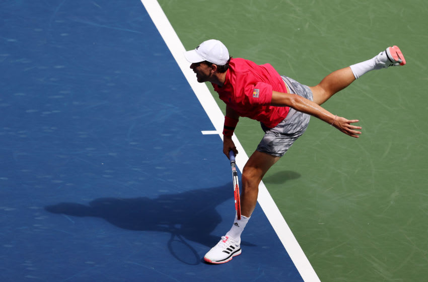 NEW YORK, NEW YORK - SEPTEMBER 03: Dominic Thiem of Austria serves the ball during his Men's Singles second round match against Sumit Nagal of India on Day Four of the 2020 US Open at the USTA Billie Jean King National Tennis Center on September 3, 2020 in the Queens borough of New York City. (Photo by Al Bello/Getty Images)