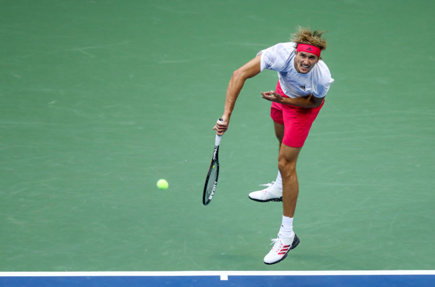 NEW YORK, NEW YORK - SEPTEMBER 11: Alexander Zverev of Germany serves the ball during his Men's Singles semifinal match against Pablo Carreno Busta of Spain on Day Twelve of the 2020 US Open at the USTA Billie Jean King National Tennis Center on September 11, 2020 in the Queens borough of New York City. (Photo by Matthew Stockman/Getty Images)