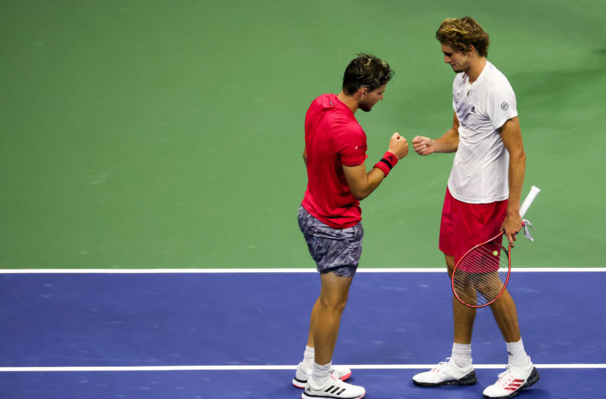 NEW YORK, NEW YORK - SEPTEMBER 13: (L-R) Dominic Thiem of Austria shakes hands with Alexander Zverev of Germany after winning their Men's Singles final match on Day Fourteen of the 2020 US Open at the USTA Billie Jean King National Tennis Center on September 13, 2020 in the Queens borough of New York City. (Photo by Al Bello/Getty Images)