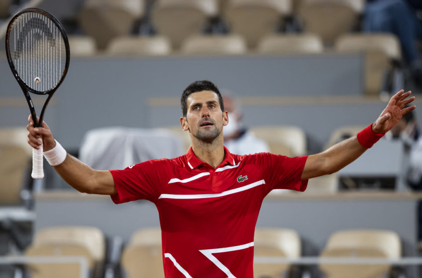 PARIS, FRANCE - OCTOBER 05: Novak Djokovic of Serbia celebrates his victory over Karen Kachanov of Russia in the fourth round of the men's singles at Roland Garros on October 05, 2020 in Paris, France. (Photo by TPN/Getty Images)