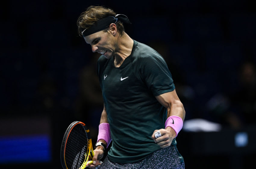LONDON, ENGLAND - NOVEMBER 15: Rafael Nadal of Spain celebrates his victory over Andrey Rublev of Russia during Day 1 of the Nitto ATP World Tour Finals at The O2 Arena on November 15, 2020 in London, England.