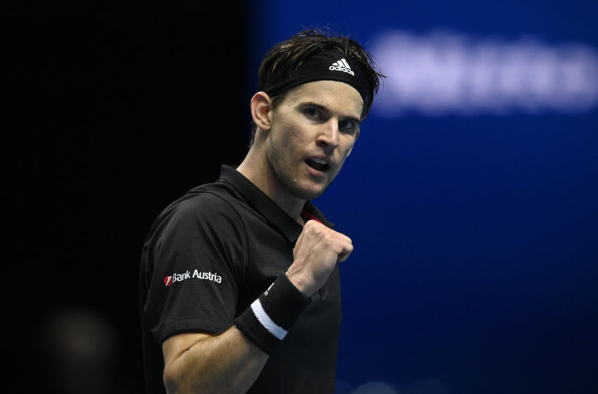 LONDON, ENGLAND - NOVEMBER 17: Dominic Thiem of Austria celebrates during his match against Rafael Nadal of Spain during Day 3 of the Nitto ATP World Tour Finals at The O2 Arena on November 17, 2020 in London, England. (Photo by TPN/Getty Images)