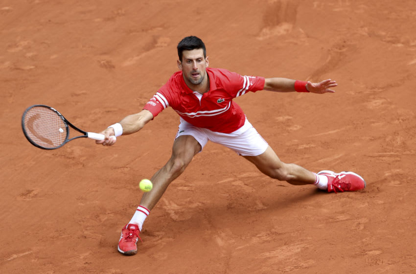 PARIS, FRANCE - JUNE 3: Novak Djokovic of Serbia during day 7 of Roland-Garros 2021, French Open, a Grand Slam tennis tournament at Roland Garros stadium on June 5, 2021 in Paris, France. (Photo by John Berry/Getty Images)