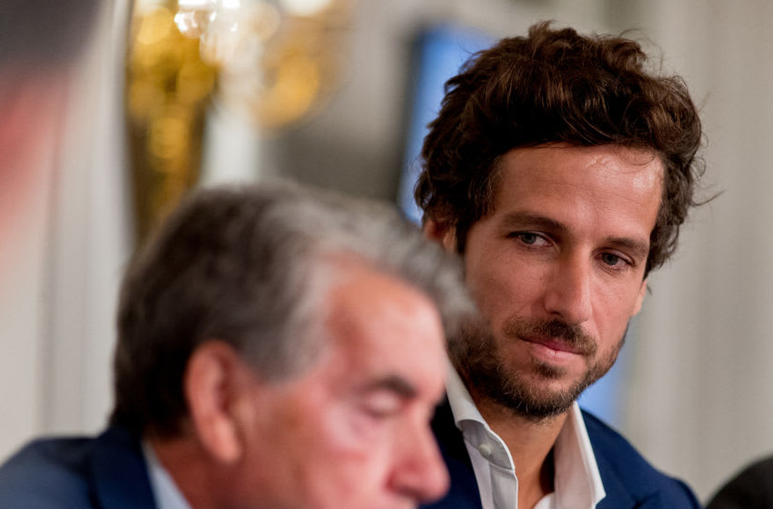 MADRID, SPAIN - APRIL 12: Tennis players Manolo Santana (L) and Feliciano Lopez (R) attend the 'Mutua Madrid Open. Los retos del futuro' conference at Villamagna hotel on April 12, 2018 in Madrid, Spain. (Photo by Eduardo Parra/Getty Images)