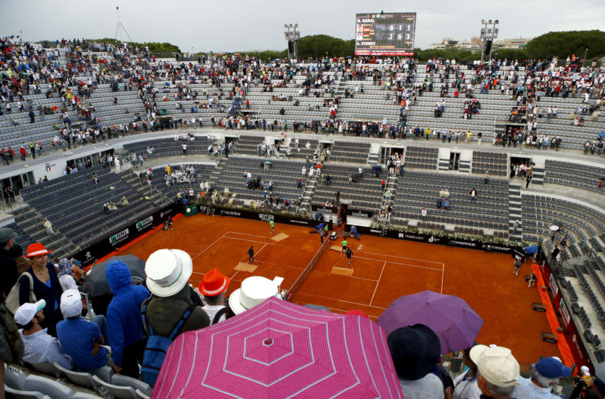 ROME, ITALY - MAY 20: General view of the court as the groundsmen care for the court during the Mens Singles final match between Rafael Nadal and Alexander Zverev on Day Eight of the The Internazionali BNL d'Italia 2018 at Foro Italico on May 20, 2018 in Rome, Italy. (Photo by Julian Finney/Getty Images)