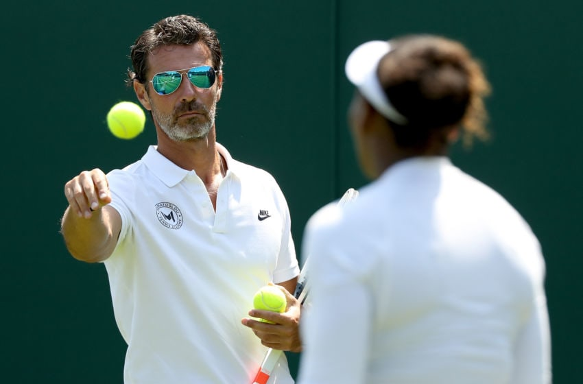 LONDON, ENGLAND - JUNE 28: Coach Patrick Mouratoglou watches as Serena Williams of the United States practices on court during training for the Wimbledon Lawn Tennis Championships at the All England Lawn Tennis and Croquet Club at Wimbledon on June 28, 2018 in London, England. (Photo by Matthew Stockman/Getty Images)