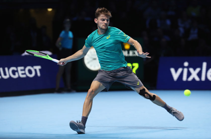 LONDON, ENGLAND - NOVEMBER 13: David Goffin of Belgium plays a forehand in his Singles match against Rafael Nadal of Spain during day two of the Nitto ATP World Tour Finals at O2 Arena on November 13, 2017 in London, England. (Photo by Julian Finney/Getty Images)