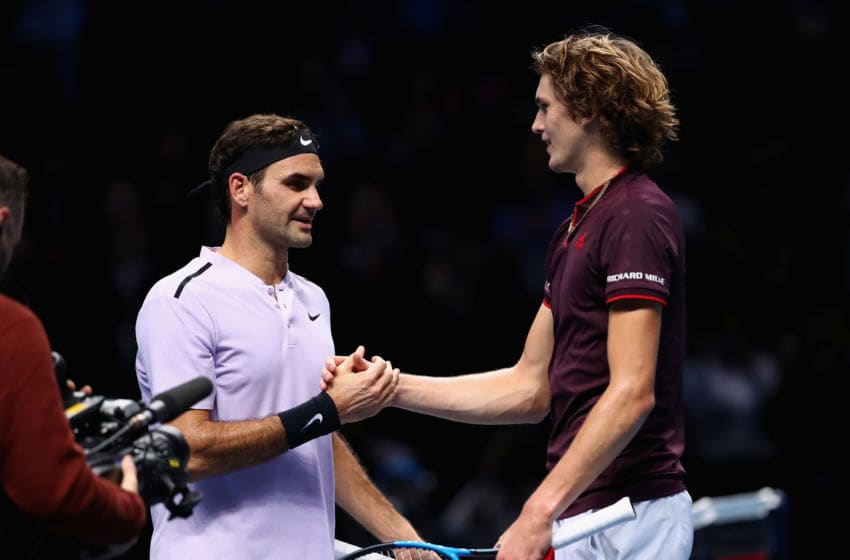 LONDON, ENGLAND - NOVEMBER 14: Alexander Zverev of Germany congratulates Roger Federer of Switzerland on victory following their singles match on day three of the Nitto ATP World Tour Finals at O2 Arena on November 14, 2017 in London, England. (Photo by Clive Brunskill/Getty Images)