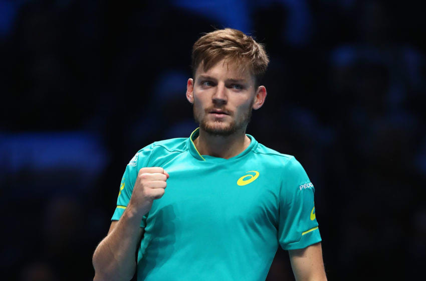 LONDON, ENGLAND - NOVEMBER 19: David Goffin of Belgium celebrates after winning the 2nd set during the singles final against Grigor Dimitrov of Bulgaria during day eight of the 2017 Nitto ATP World Tour Finals at O2 Arena on November 19, 2017 in London, England. (Photo by Clive Brunskill/Getty Images)