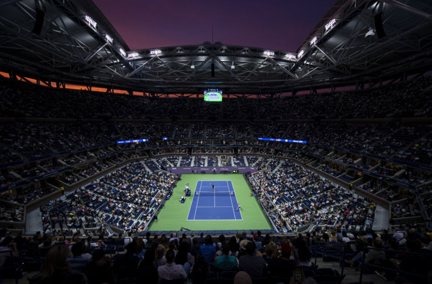 NEW YORK, NEW YORK - SEPTEMBER 05: Serena Williams of the United States in action against Elina Svitolina of Ukraine at sunset on Arthur Ashe Stadium at the USTA Billie Jean King National Tennis Center on September 05, 2019 in New York City. (Photo by TPN/Getty Images)