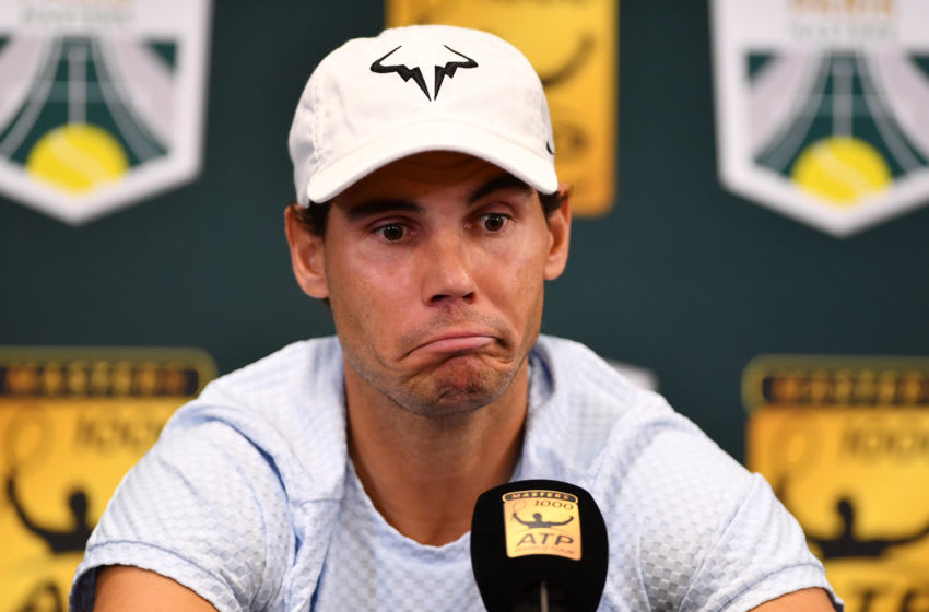 PARIS, FRANCE - OCTOBER 28: Rafael Nadal of Spain speaks during a press conference ahead of the Rolex Paris Masters on October 28, 2018 in Paris, France. (Photo by Justin Setterfield/Getty Images)