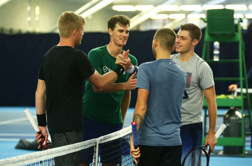 LONDON, ENGLAND - NOVEMBER 12: Neal Skupski, Dan Evans, Jamie Murray and Kyle Edmund shake hands during a practice session ahead of travelling to the Davis Cup at National Tennis Centre on November 12, 2019 in London, England. (Photo by Jordan Mansfield/Getty Images for LTA)