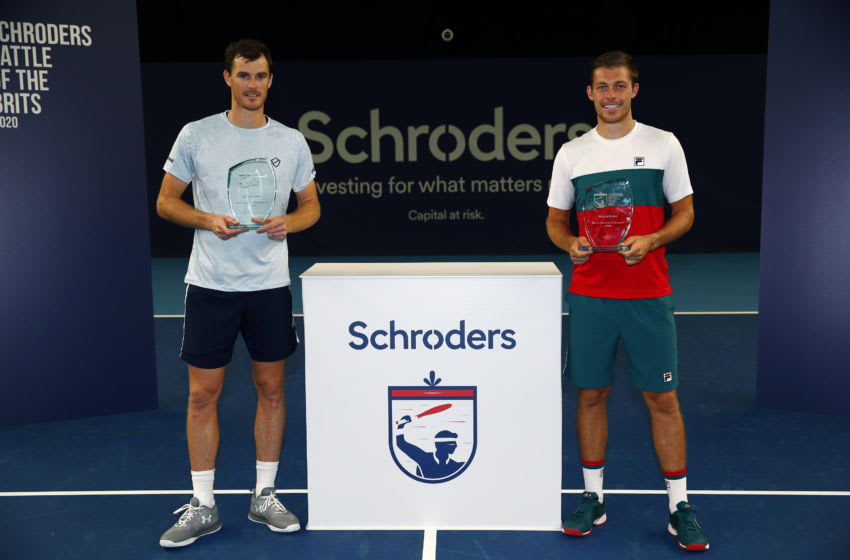 LONDON, ENGLAND - JUNE 27: Jamie Murray and Neal Skupski pose with their trophies following their victory in the doubles final on day 5 of Schroders Battle of the Brits at the National Tennis Centre on June 27, 2020 in London, England. (Photo by Clive Brunskill/Getty Images for Battle Of The Brits)