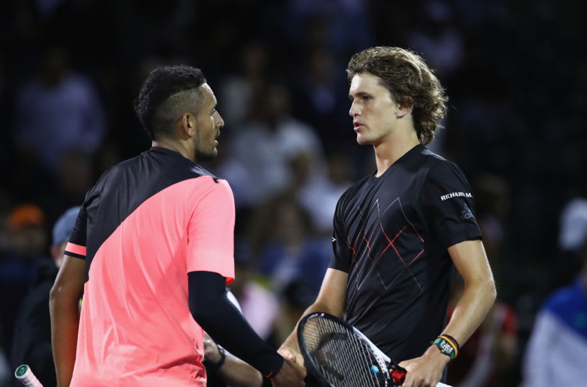 KEY BISCAYNE, FL - MARCH 27: Alexander Zverev of Germany shakes hands at the net after his straight sets victory against Nick Kyrgios of Australia in their fourth round match during the Miami Open Presented by Itau at Crandon Park Tennis Center on March 27, 2018 in Key Biscayne, Florida. (Photo by Clive Brunskill/Getty Images)