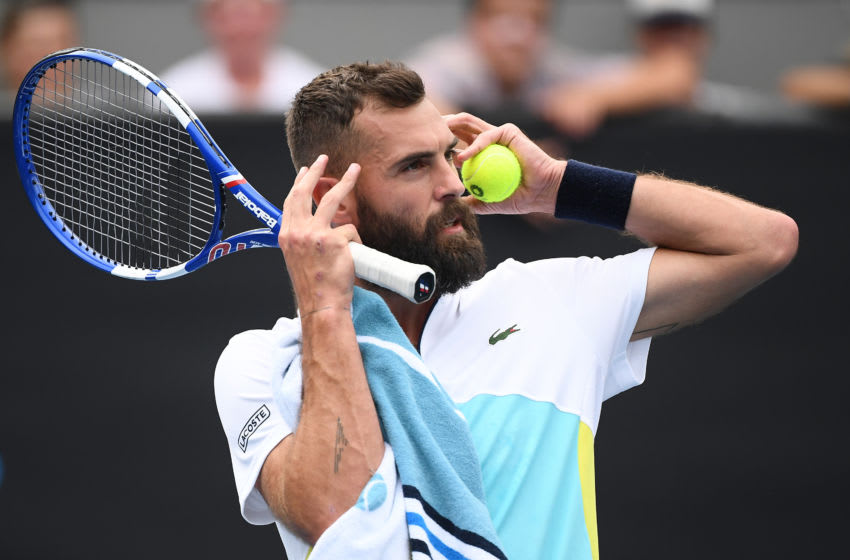 MELBOURNE, AUSTRALIA - JANUARY 22: Benoit Paire of France reacts during his Men's Singles second round match against Marin Cilic of Croatia on day three of the 2020 Australian Open at Melbourne Park on January 22, 2020 in Melbourne, Australia. (Photo by Hannah Peters/Getty Images)