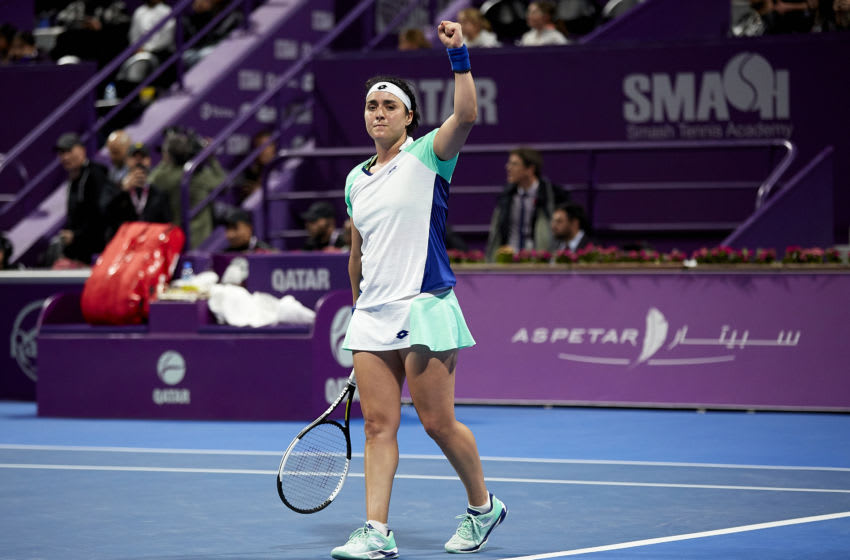 DOHA, QATAR - FEBRUARY 26: Ons Jabeur of Tunisia acknowledges the fans after winning against Karolina Pliskova of Czech Republic during day four of the WTA Qatar Total Open 2020 at Khalifa International Tennis and Squash Complex on February 26, 2020 in Doha, Qatar. (Photo by Quality Sport Images/Getty Images)