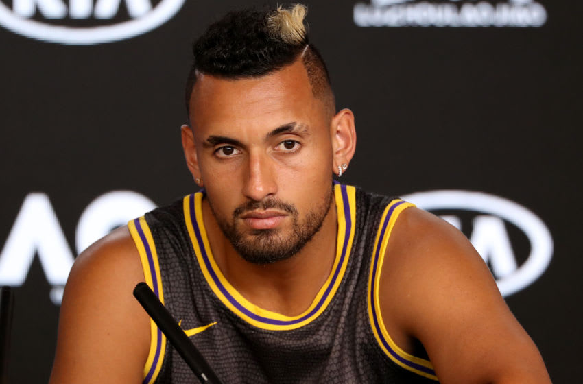 MELBOURNE, AUSTRALIA - JANUARY 27: Nick Kyrgios of Australia speaks at his post match press conference on day eight of the 2020 Australian Open at Melbourne Park on January 27, 2020 in Melbourne, Australia. (Photo by Jonathan DiMaggio/Getty Images)