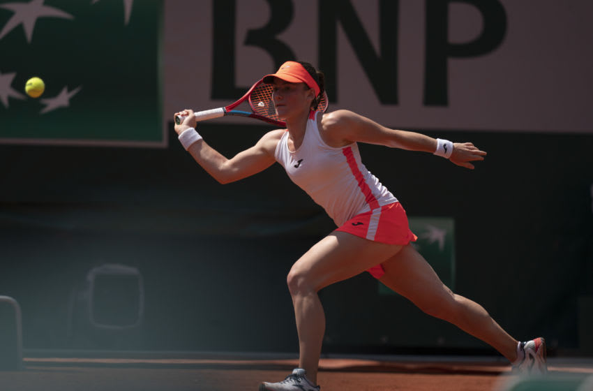 Jun 8, 2021; Paris, France; Tamara Zidansek (SLO) in action during her match against Paula Badosa (ESP) on day 10 of the French Open at Stade Roland Garros. Mandatory Credit: Susan Mullane-USA TODAY Sports