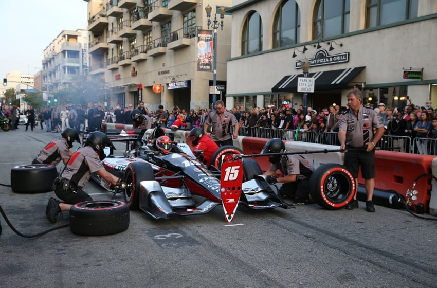 Graham Rahal and the No. 15 RLL team participate in Thunder Thursday before the 2016 Toyota Grand Prix of Long Beach. Photo Credit: Chris Owens/Courtesy of IndyCar