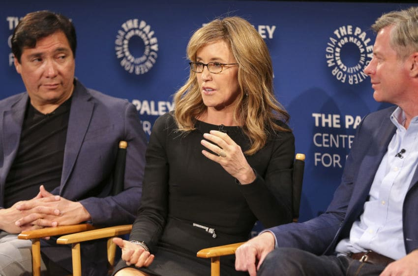 BEVERLY HILLS, CA - March 1, 2017: Actors Benito Martinez, Felicity Huffman, and Executive producer Michael McDonald speak onstage during a Q&A panel at PaleyLive LA's Season 3 Premiere Screening and Conversation of ABC's American Crime on March 1 at The Paley Center for Media in Beverly Hills, CA (Photo by Imeh Bryant for The Paley Center)