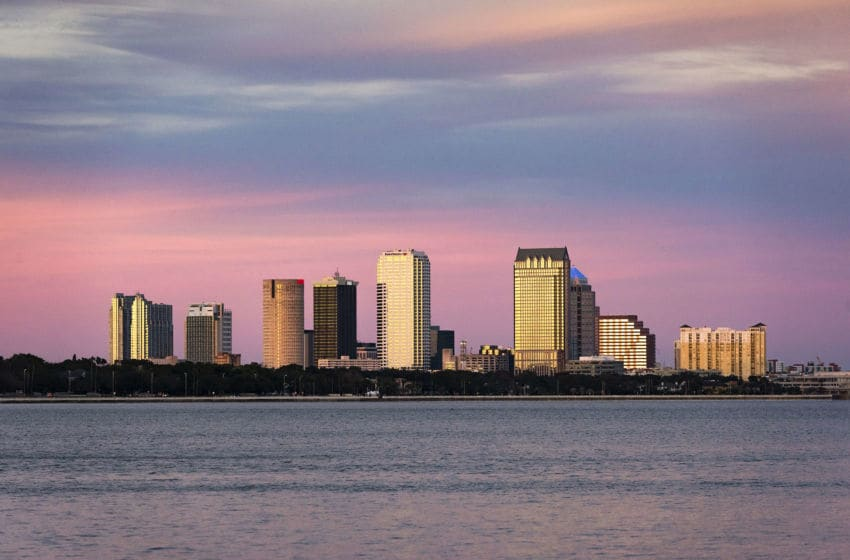TAMPA, FLORIDA, UNITED STATES - 2016/01/18: Tampa skyline across Hillsborough Bay. (Photo by John Greim/LightRocket via Getty Images)