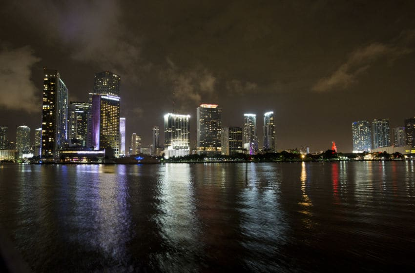 MIAMI, FL - JUNE 09: A view of the Miami skyline from Biscayne Bay at the Versy official launch celebration with Complex Magazine on June 9, 2016 in Miami, United States. (Photo by Shelby Soblick/Getty Images for Complex Magazine)