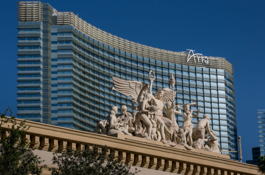 LAS VEGAS, NV - JUNE 7: An ornate sculpture adorns the entrance to the Monte Carlo Hotel