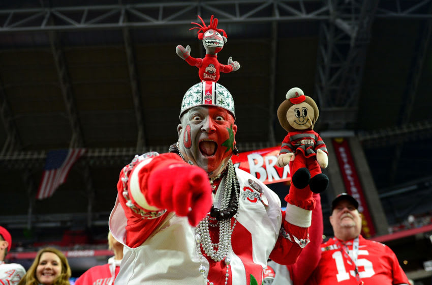 GLENDALE, AZ - JANUARY 01: An Ohio State Buckeyes fan cheers during the BattleFrog Fiesta Bowl against the against the Notre Dame Fighting Irish at University of Phoenix Stadium on January 1, 2016 in Glendale, Arizona. (Photo by Jennifer Stewart/Getty Images)