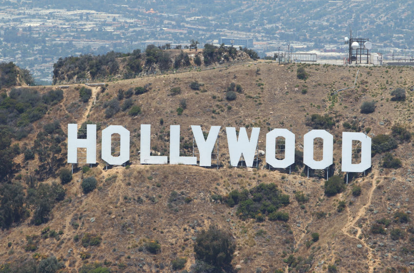 HOLLYWOOD, CA - JULY 13: An aerial view of the Hollywood Sign in the Hollywood Hills on July 13, 2010 in Hollywood, California. (Photo by Tom Szczerbowski/Getty Images)