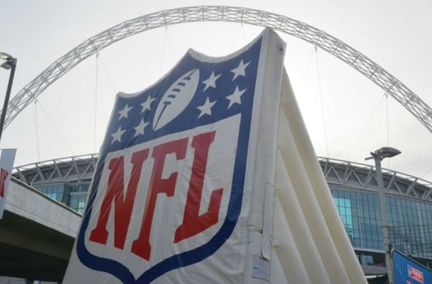 Oct 25, 2015; London, United Kingdom; General view of NFL Shield logo at Wembley Stadium before the NFL International Series game between the Buffalo Bills and the Jacksonville Jaguars. Mandatory Credit: Kirby Lee-USA TODAY Sports