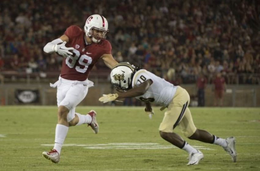 Stanford Cardinal wide receiver Devon Cajuste (89) runs against Central Florida Knights defensive back Shaquill Griffin (10). Kyle Terada-USA TODAY Sports