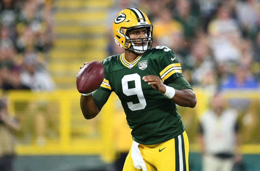 GREEN BAY, WI - AUGUST 09: DeShone Kizer #9 of the Green Bay Packers drops back to pass during the second quarter of a preseason game against the Tennessee Titans at Lambeau Field on August 9, 2018 in Green Bay, Wisconsin. (Photo by Stacy Revere/Getty Images)
