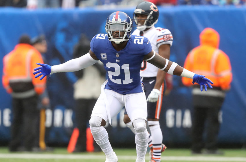 EAST RUTHERFORD, NEW JERSEY - DECEMBER 02: Landon Collins #21 of the New York Giants reacts after being called for pass interference during the first quarter against the Chicago Bears at MetLife Stadium on December 02, 2018 in East Rutherford, New Jersey. (Photo by Elsa/Getty Images)