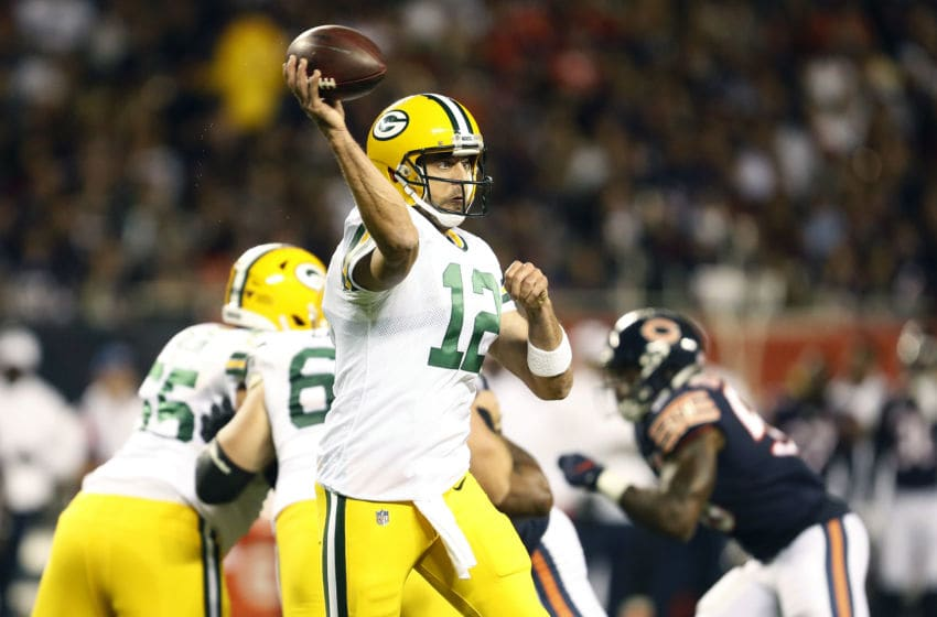 CHICAGO, ILLINOIS - SEPTEMBER 05: Aaron Rodgers #12 of the Green Bay Packers throws a pass during the first half against the Chicago Bears at Soldier Field on September 05, 2019 in Chicago, Illinois. (Photo by Nuccio DiNuzzo/Getty Images)