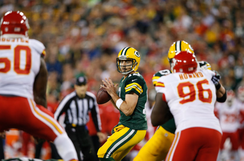 GREEN BAY, WI - SEPTEMBER 28: Quarterback Aaron Rodgers #12 of the Green Bay Packers looks to pass the football against the Kansas City Chiefs in the second half at Lambeau Field on September 28, 2015 in Green Bay, Wisconsin. The Green Bay Packers defeat the Kansas City Chiefs 38-28. (Photo by Joe Robbins/Getty Images)