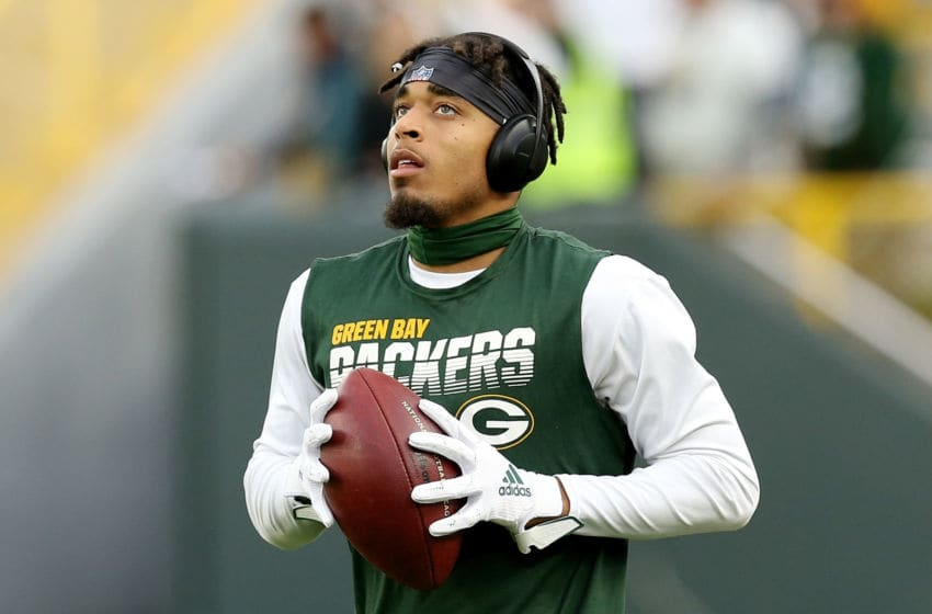 GREEN BAY, WISCONSIN - SEPTEMBER 26: Jaire Alexander #23 of the Green Bay Packers warms up before the game against the Philadelphia Eagles at Lambeau Field on September 26, 2019 in Green Bay, Wisconsin. (Photo by Dylan Buell/Getty Images)