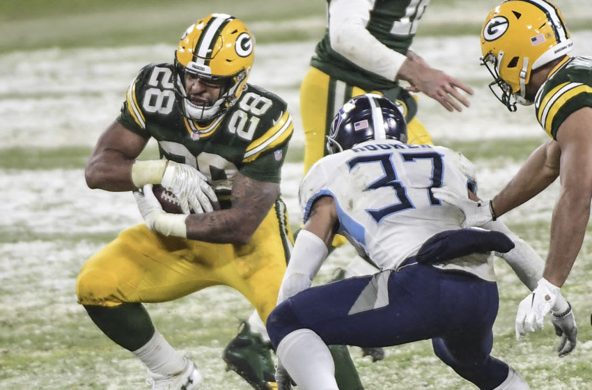 Green Bay Packers, AJ Dillon - Mandatory Credit: Benny Sieu-USA TODAY Sports