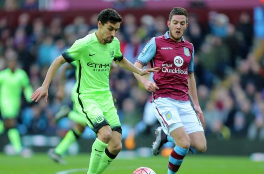 BIRMINGHAM, ENGLAND - JANUARY 30: Jesus Navas of Manchester City and Jordan Veretout of Aston Villa during the Emirates FA Cup match between Aston Villa and Manchester City at Villa Park on January 30, 2016 in Birmingham, England. (Photo by James Baylis - AMA/Getty Images)