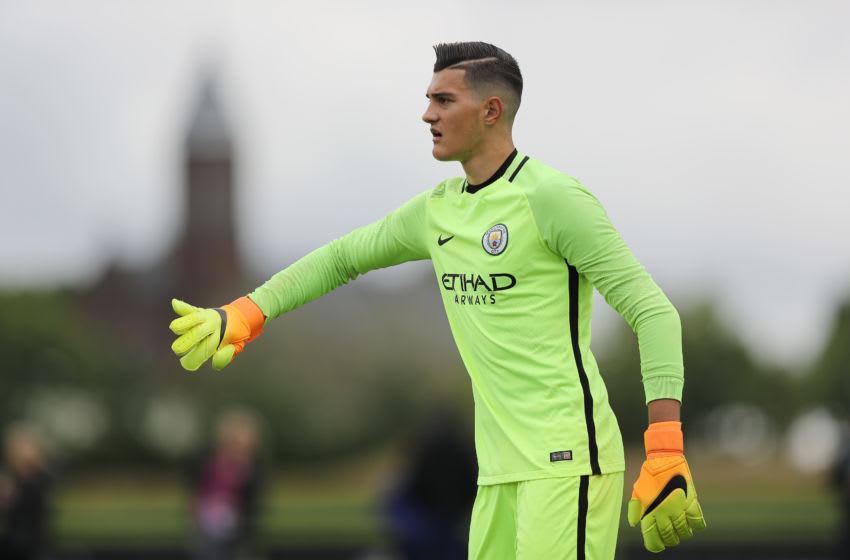 MANCHESTER, ENGLAND - AUGUST 13: Arijanet Muric of Manchester City U18 during the U18 Premier League match between Manchester City and West Bromwich Albion at Etihad Campus on August 13, 2016 in Manchester, England. (Photo by Matthew Ashton - AMA/WBA FC via Getty Images)