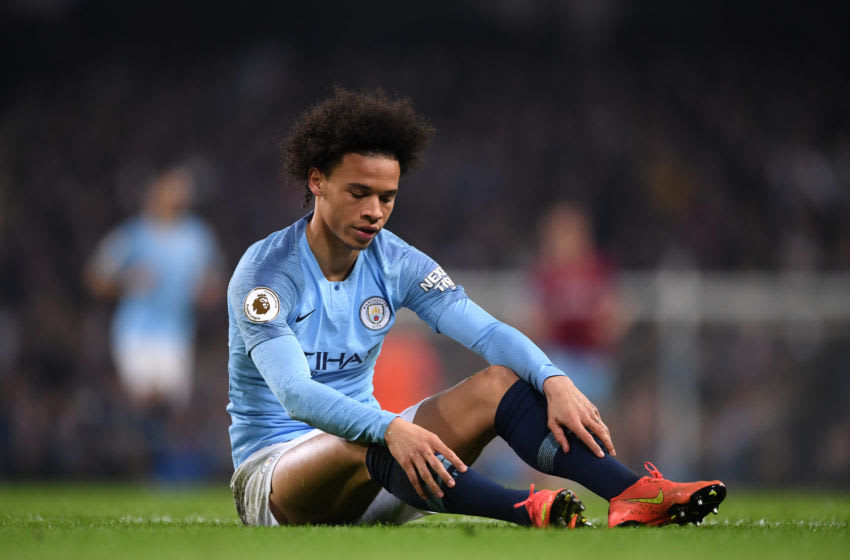MANCHESTER, ENGLAND - FEBRUARY 27: Leroy Sane of Manchester City looks on during the Premier League match between Manchester City and West Ham United at Etihad Stadium on February 27, 2019 in Manchester, United Kingdom. (Photo by Laurence Griffiths/Getty Images)