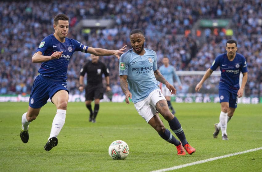 LONDON, ENGLAND - FEBRUARY 24: Raheem Sterling of Manchester City and César Azpilicueta of Chelsea during the Carabao Cup Final between Chelsea and Manchester City at Wembley Stadium on February 24, 2019 in London, England. (Photo by Visionhaus/Getty Images)