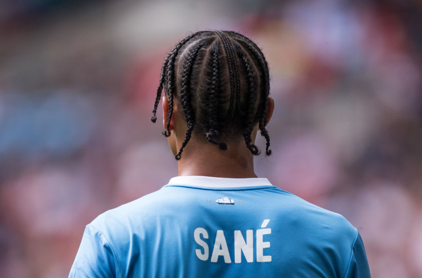 LONDON, ENGLAND - AUGUST 04: Leroy Sane of Manchester City during the FA Community Shield match between Liverpool and Manchester City at Wembley Stadium on August 4, 2019 in London, England. (Photo by Sebastian Frej/MB Media/Getty Images)