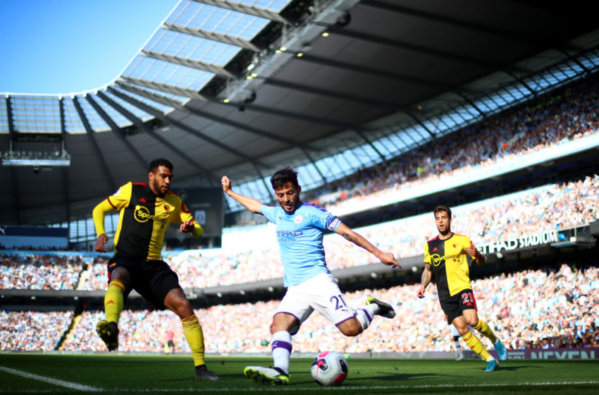MANCHESTER, ENGLAND - SEPTEMBER 21: David Silva of Manchester City crosses the ball during the Premier League match between Manchester City and Watford FC at Etihad Stadium on September 21, 2019 in Manchester, United Kingdom. (Photo by Chloe Knott - Danehouse/Getty Images)